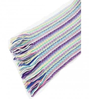 The Scarf Company Lilac Striped Lace Stitch Cashmere Scarf