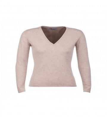 Johnstons of Elgin Cashmere Classic V-Neck Sweater - Dark Medium Dyed