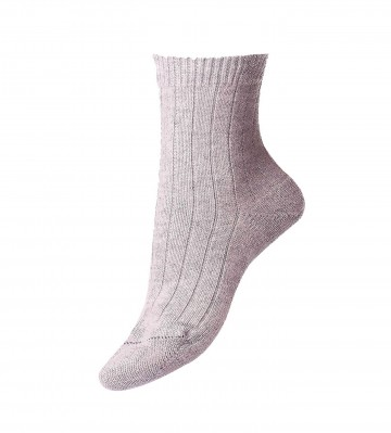 Pantherella Women's Tabitha Cashmere Ribbed Anklet Socks in Light Grey