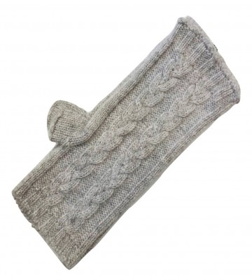 The Scarf Company Light Grey 3 Ply Cable Knit Cashmere Ladies Fingerless Mitts/Gloves