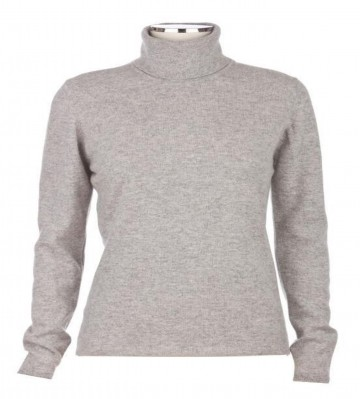 Johnstons of Elgin Light Grey Ladies' Roll Neck - 100% Cashmere Made in Scotland