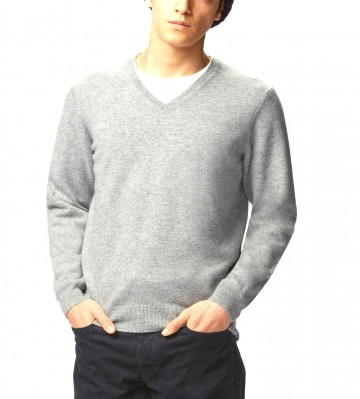 Mens Light Grey V-Neck Sweater - 100% Cashmere Made in Scotland