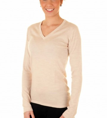 Linen Ladies V-Neck Sweater - 100% Cashmere Made in Scotland