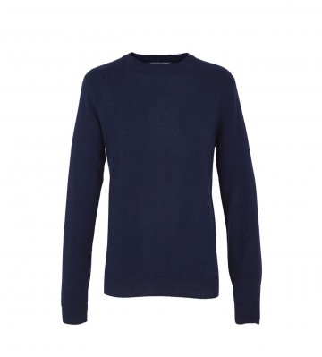 Mens Navy Crew Sweater - 100% Cashmere Made in Scotland
