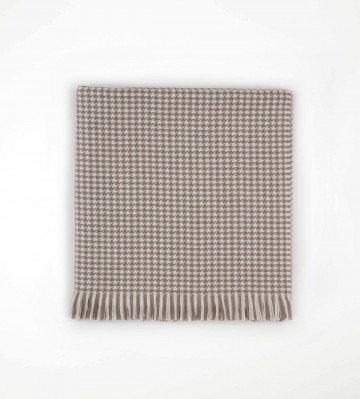 Johnston's of Elgin Extra Fine Merino Houndstooth Throw - Brown