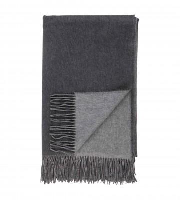 Cashmere Plain Reversible Throw - Mid Grey
