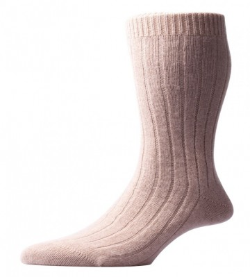 Pantherella Men's Waddington Cashmere Socks - Natural - Medium