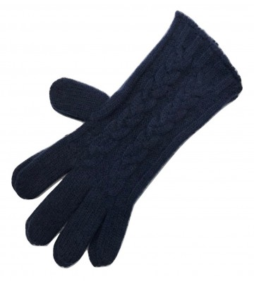 The Scarf Company Navy 3 Ply Cable Knit Cashmere Ladies Gloves