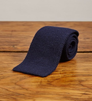 Cashmere Narrow Knitted Tie - Navy