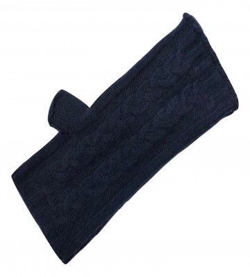 The Scarf Company Navy 3 Ply Cable Knit Cashmere Ladies Fingerless Mitts/Gloves