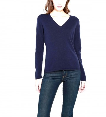 Navy Ladies V-Neck Sweater - 100% Cashmere Made in Scotland