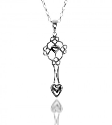 Celtic Welsh Love Spoon Sterling Silver Pendant Necklace