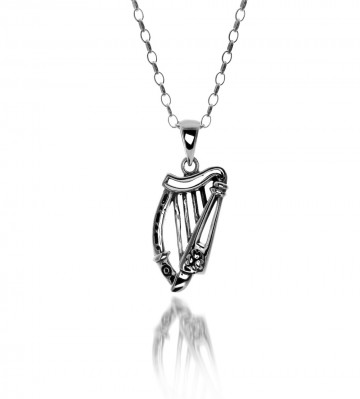 Irish Harp & Shamrock Sterling Silver Pendant Necklace