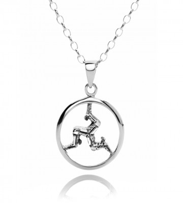 Round Manx Sterling Silver Pendant Necklace