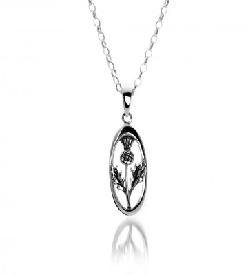 Celtic Thistle Oval Sterling Silver Pendant Necklace