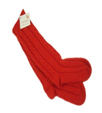 Pheonix Red 100% Cashmere 3 Ply Cable Ladies Bed Socks from the Scarf Company