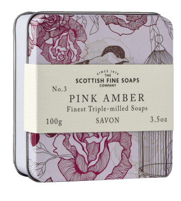 Pink Amber Scottish Fine Soap in a Tin - 100g Triple Milled