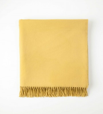 Johnston's of Elgin Plain Cashmere Throw - Citrus Yellow