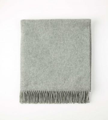 Johnston's of Elgin Plain Cashmere Throw - Light Grey