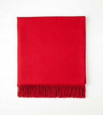 Johnston's of Elgin Plain Cashmere Throw - Poppy