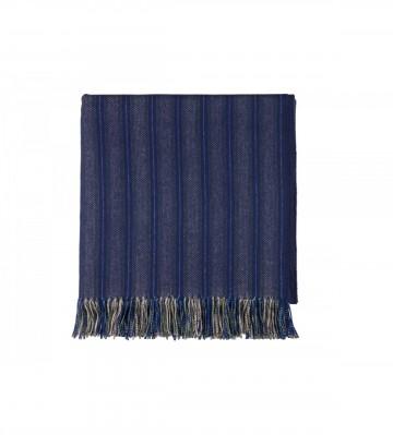 Johnston's of Elgin 'QEST' Slender Stripe Throw - Blue