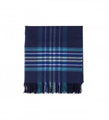 Johnston's of Elgin 'QEST' Stripe Border Throw - Blue