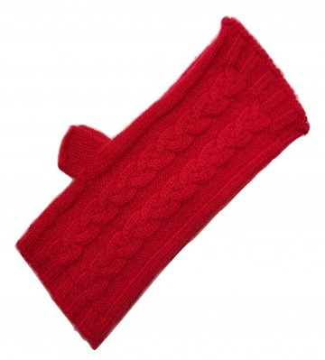 The Scarf Company Red 3 Ply Cable Knit Cashmere Ladies Fingerless Mitts/Gloves