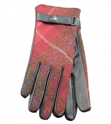 Failsworth Harris Tweed Ladies' Gloves - Red Tartan Check