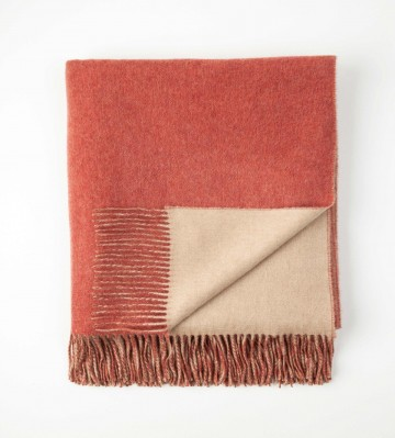 Johnston's of Elgin Cashmere Reversible Throw - Red