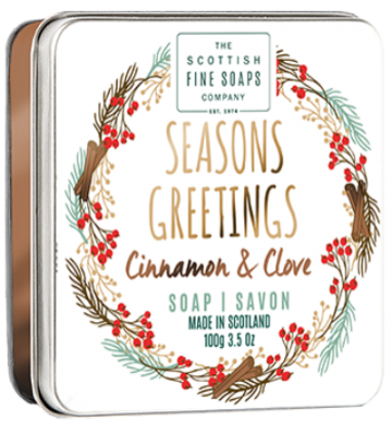 Seasons Greetings Christmas Soap in a Tin