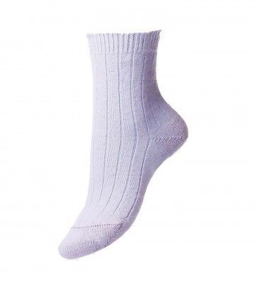 Pantherella Women's Tabitha Cashmere Ribbed Anklet Socks in Sky Blue