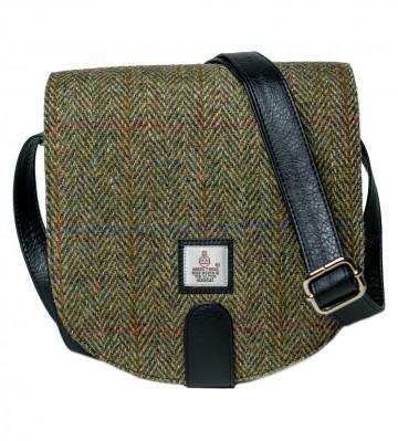 Maccessori Harris Tweed Small Cross Body Saddle Bag in Country Green