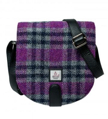 Maccessori Harris Tweed Small Cross Body Saddle Bag in Pink Check