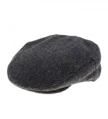 Failsworth Stornoway Flat Cap in Blue/Brown 2012 Herringbone Harris Tweed