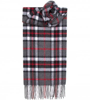 Thompson Grey Tartan 100% Lambswool Scarf by Lochcarron