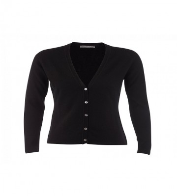 Cashmere Classic V-Neck Cardigan - Black